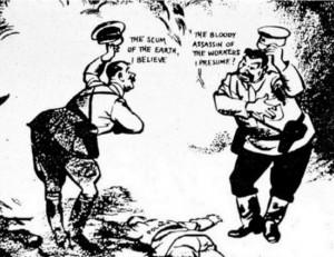 Politikai karikatúra 1939-ből a Molotov-Ribbentrop paktum kapcsán