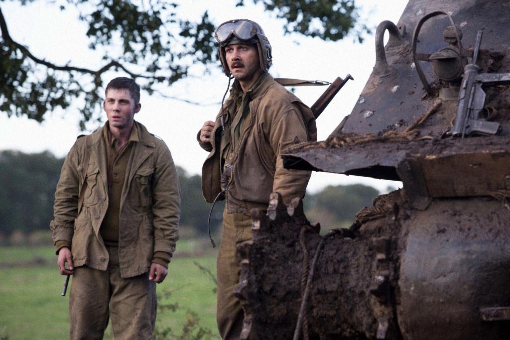 "Norman (Logan Lerman) and Boyd ""Bible"" Swan in Columbia Pictures' FURY."