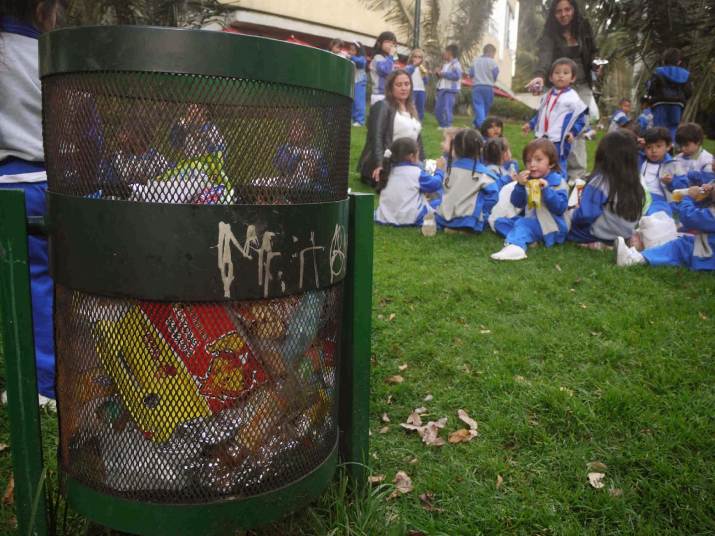 trash junk food and students