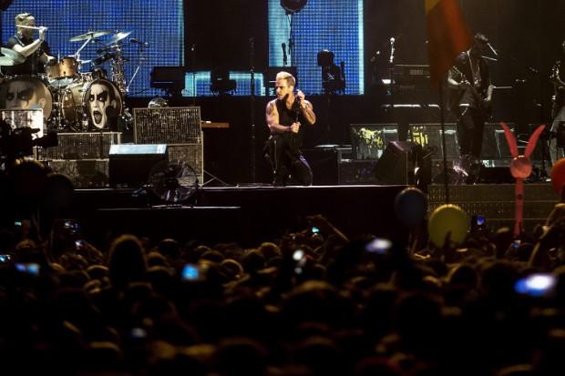 Budapest, 2015. augusztus 10. A brit popsztár, Robbie Williams a Let Me Entertain You címû koncertshow-ját mutatja be Budapesten, a Sziget fesztivál mínusz egyedik napján, 2015. augusztus 10-én. MTI Fotó: Marjai János