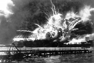 FILE - In this Dec. 7, 1941 file photo, the destroyer USS Shaw explodes after being hit by bombs during the Japanese surprise attack on Pearl Harbor, Hawaii. Wednesday marks the 70th anniversary of the attack that brought the United States into World War II. (AP File Photo)